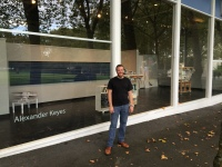 Alexander Keyes at his Seattle Center installation